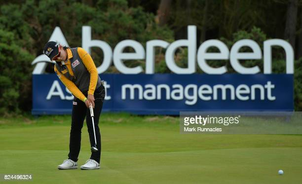 Mi Hyang Lee of Korea winner of the Aberdeen Asset Management Ladies Scottish Open putting out at the 18th green as she finishes her final round at...