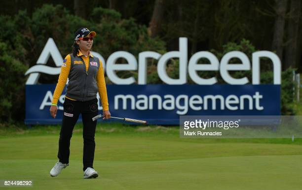 Mi Hyang Lee of Korea winner of the Aberdeen Asset Management Ladies Scottish Open reacts at the 18th green as she narrowly misses a putt for eagle...