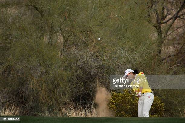 Mi Hyang Lee of South Korea chips from the rough on the 16th hole during the second round of the Bank Of Hope Founders Cup at Wildfire Golf Club on...