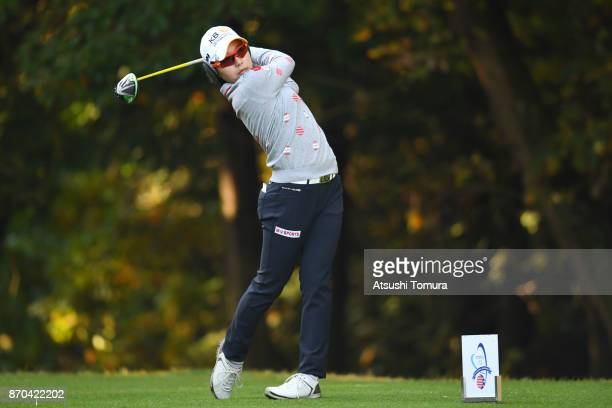 Mi Hyang Lee of South Korea hits her tee shot on the 2nd hole during the final round of the TOTO Japan Classics 2017 at the Taiheiyo Club Minori...