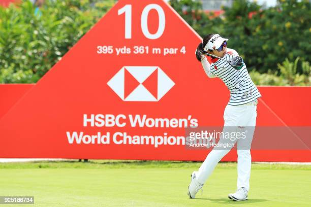 Mi Hyang Lee of South Korea plays a shot during the proam prior to the HSBC Women's World Championship at Sentosa Golf Club on February 28 2018 in...