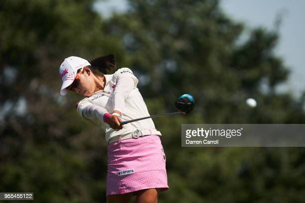 Mi Hyang Lee of South Korea plays a tee shot at the third hole during the continuation of the second round of the 2018 Volunteers of America LPGA...