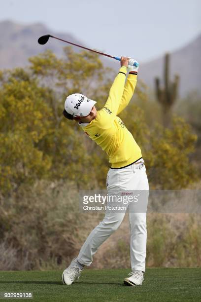 Mi Hyang Lee of South Korea plays a tee shot on the 16th hole during the second round of the Bank Of Hope Founders Cup at Wildfire Golf Club on March...