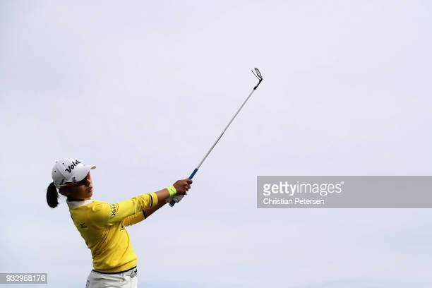 Mi Hyang Lee of South Korea plays a tee shot on the 17th hole during the second round of the Bank Of Hope Founders Cup at Wildfire Golf Club on March...
