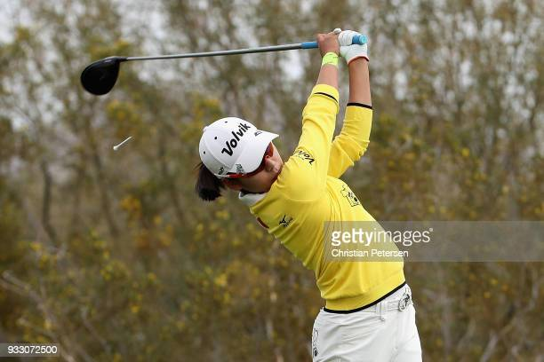 Mi Hyang Lee of South Korea plays a tee shot on the 18th hole during the second round of the Bank Of Hope Founders Cup at Wildfire Golf Club on March...