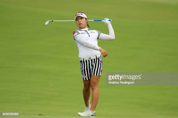 Mi Hyang Lee of South Korea plays her second shot on the 12th hole during round two of the HSBC Women's World Championship at Sentosa Golf Club on...