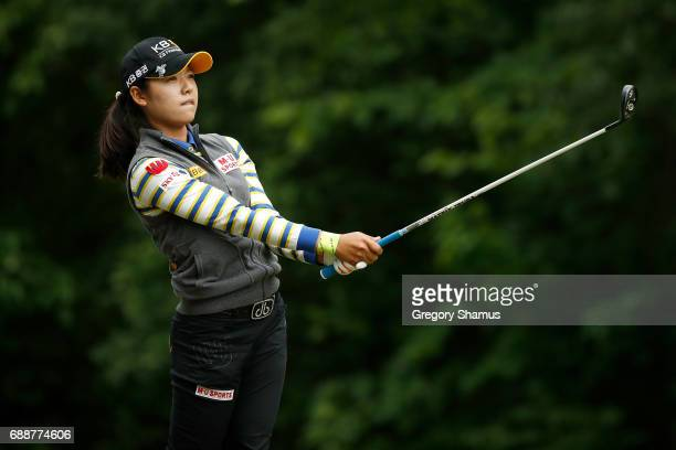 Mi Hyang Lee of South Korea watches her tee shot on the seventh hole during the second round of the LPGA Volvik Championship on May 26 2017 at Travis...