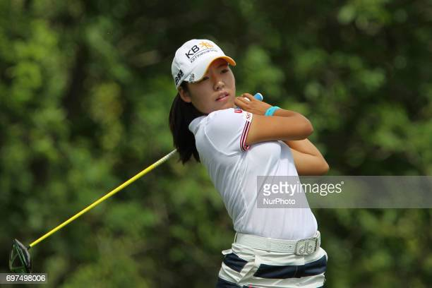 Mi Hyang Lee of the Republic of Korea follows her shot from the 8th tee during the final round of the Meijer LPGA Classic golf tournament at...