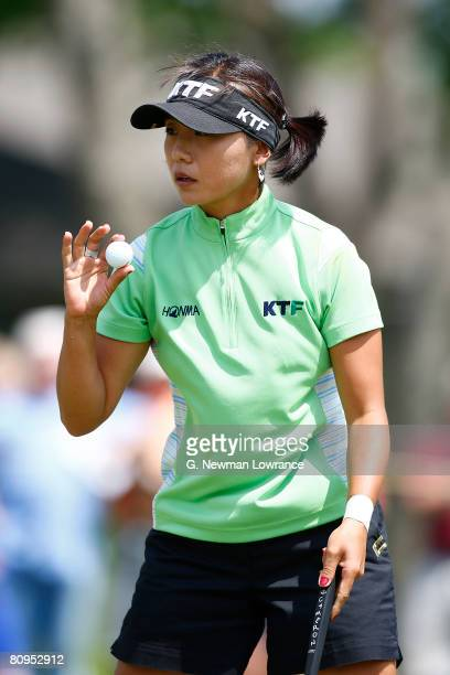 Mi Hyun Kim acknowledges the crowd after making a putt on the 17th hole during the first round of the SemGroup Championship presented by John Q...