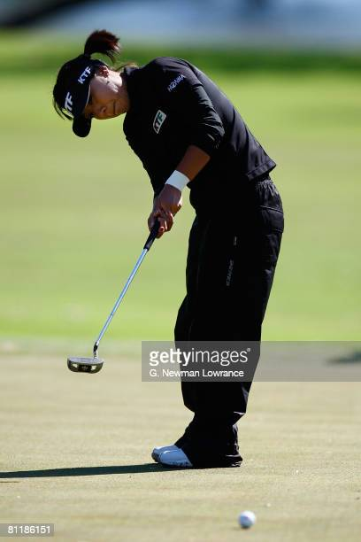 Mi Hyun Kim of Korea putts during the second round of the SemGroup Championship presented by John Q Hammons on May 2 2008 at Cedar Ridge Country Club...