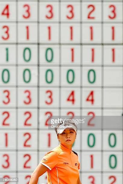 Mi Hyun Kim of South Korea lines up a shot on the 18th hole during the final round of the SemGroup Championship presented by John Q Hammons on May 6...