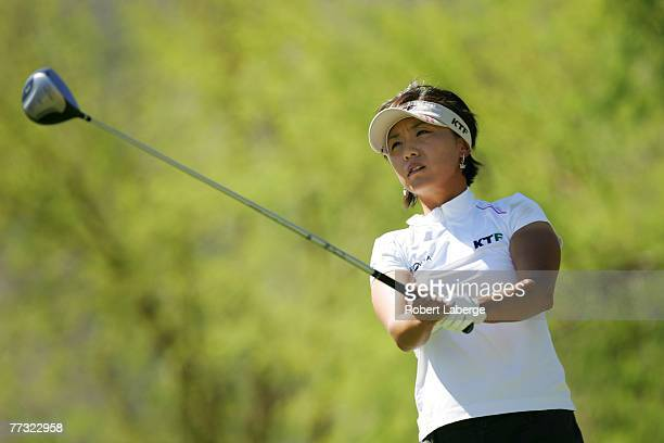 Mi Hyun Kim of South Korea makes a tee shot on the fourth hole during the final round of the LPGA Samsung World Championship at the Bighorn Golf Club...