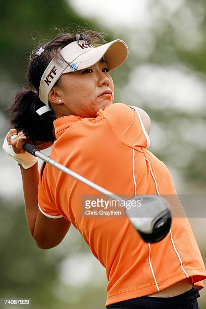 Mi Hyun Kim of South Korea tees off on the 17th hole during the final round of the SemGroup Championship presented by John Q Hammons on May 6 2007 at...