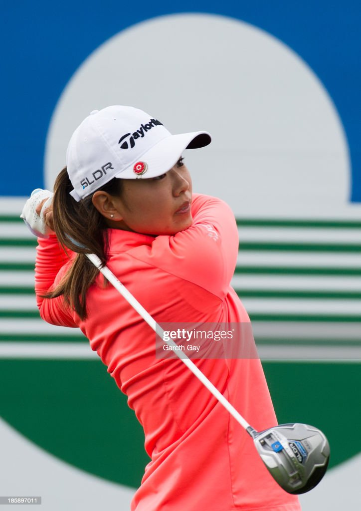 Mi Jung Hur of South Korea plays a tee shot on the first hole, during day three of the Sunrise LPGA Taiwan Championship on October 26, 2013 in Taoyuan, Taiwan.