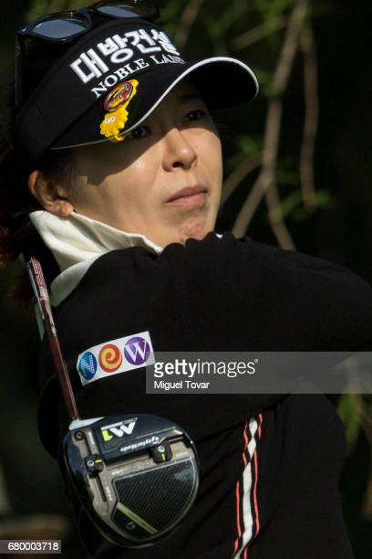 Mi Jung Hur of South Korea plays her drive during the final round of the Citibanamex Lorena Ochoa Match Play Presented by Aeromexico and Delta at...