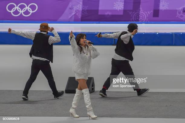 Mi Kyung Park sings during intermission of the 1000M Ladies Final during the 2018 Winter Olympic Games at Gangneung Oval on February 14, 2018 in...