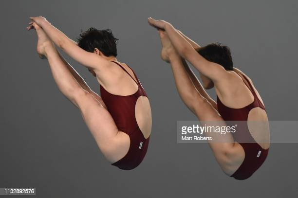 Mi Rae Kim and A Rim Kim of North Korea on day one of the FINA Diving World Cup Sagamihara at Sagamihara Green Pool on March 01 2019 in Sagamihara...