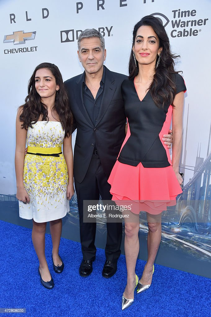 Mia Alamuddin, actor George Clooney and lawyer Amal Clooney attend the premiere of Disney's 'Tomorrowland' at AMC Downtown Disney 12 Theater on May 9, 2015 in Anaheim, California.