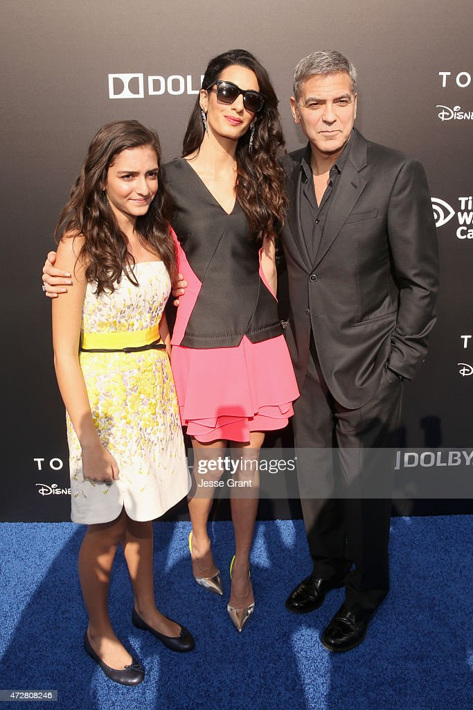 Mia Alamuddin, lawyer Amal Clooney and actor George Clooney attends the world premiere of Disney's 'Tomorrowland' at Disneyland, Anaheim on May 9, 2015 in Anaheim, California.