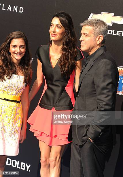 Mia Alamuddin wife/attorney Amal Clooney and actor George Clooney attend Disney's 'Tomorrowland' Los Angeles Premiere at AMC Downtown Disney 12...