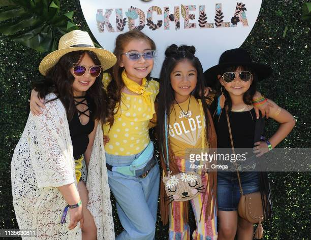 Mia Arellano Daly Hernandez Gia Zuniga and Caidynce Aquino arrive for Clubhouse Kidchella held at Pershing Square on April 6 2019 in Los Angeles...