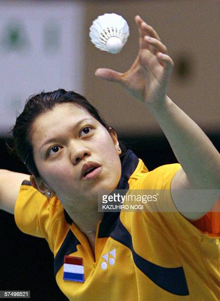 Mia Audina Tjiptawan of the Netherlands eyes the shuttelcock during a women's single match against Julia Mann of England at the preliminary round of...