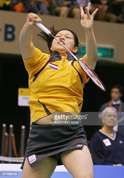 Mia Audina Tjiptawan of the Netherlands returns the shuttelcock during a women's single match against Julia Mann of England at the preliminary round...