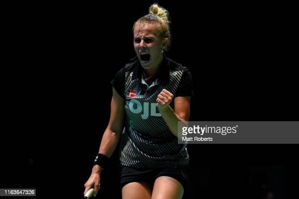 Mia Blichfeldt of Denmark celebrates against Sayaka Takahashi of Japan during day one of the Daihatsu Yonex Japan Open Badminton Championships Tokyo...