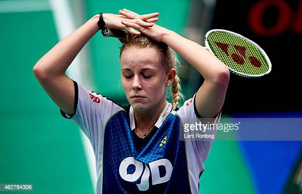 Mia Blichfeldt of Solrod Strand looks dejected after her loss against Sofie Holmboe Dahl of Gentofte during the Danish Badminton Championships at...