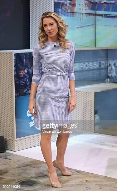 Mia Ceran attends the 'Quelli Che Il Calcio' Tv Show on April 10 2016 in Milan Italy
