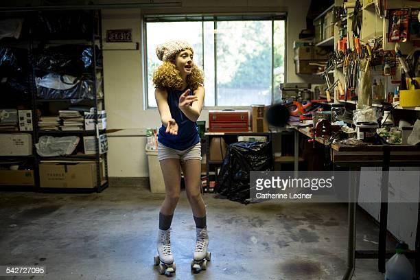Mia dancing in garage