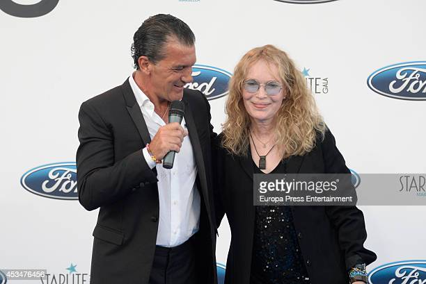Mia Farrow and Antonio Banderas attend the 5th annual Starlite Charity Gala on August 9 2014 in Marbella Spain