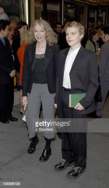 Mia Farrow and Shamus Farrow during Opening Night of Jumpers Arrivals at Brooks Atkinson Theater in New York City New York United States