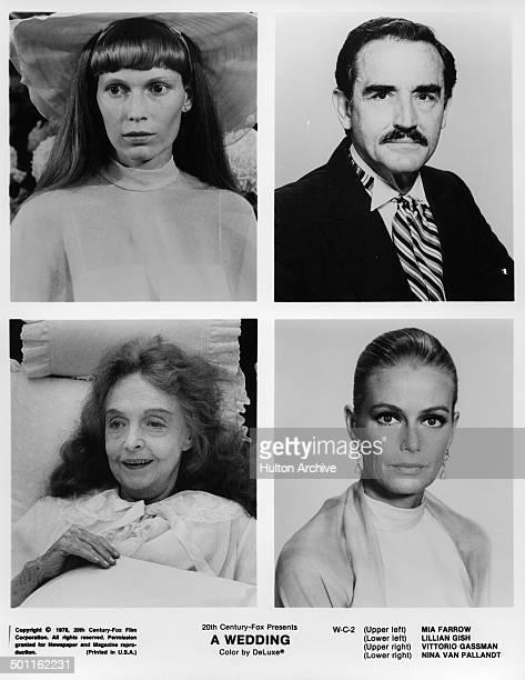 Mia Farrow in a scene and Vittorio Gassman poses Lillian Gish in a scene and Nina van Pallandt poses for the 20th Century Fox movie 'A Wedding' circa...