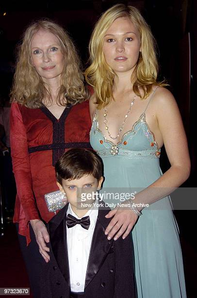"Mia Farrow, Julia Stiles and Seamus Davey-Fitzpatrick attend an advance screening of ""The Omen"" at the Angel Orensanz Foundation in lower Manhattan...."