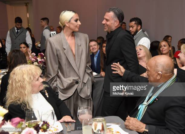 Mia Farrow Lady Gaga Christian Carino and Quincy Jones attend ELLE's 25th Annual Women In Hollywood Celebration presented by L'Oreal Paris Hearts On...