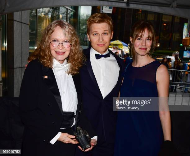 Mia Farrow Ronan Farrow and Emily Nestor seen in Columbus Circle on their way to the 2018 Time 100 Gala on April 24 2018 in New York City