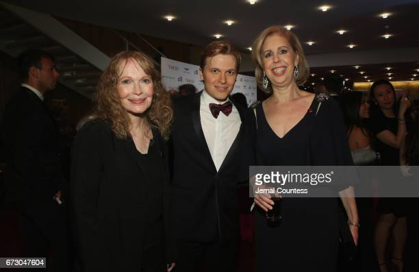 Mia Farrow, Ronan Farrow and Nancy Gibbs attend the 2017 Time 100 Gala at Jazz at Lincoln Center on April 25, 2017 in New York City.