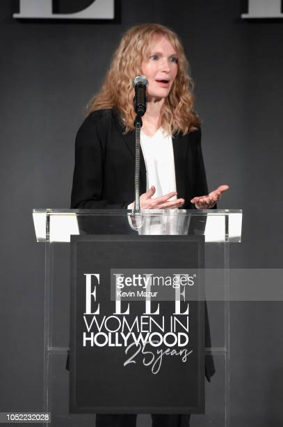 Mia Farrow speaks onstage at ELLE's 25th Annual Women In Hollywood Celebration presented by L'Oreal Paris, Hearts On Fire and CALVIN KLEIN at Four...
