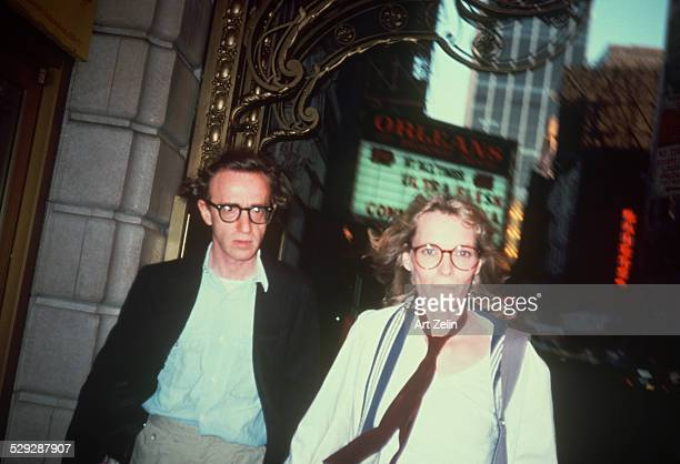 Mia Farrow with Woody Allen walking on the street circa 1970 New York