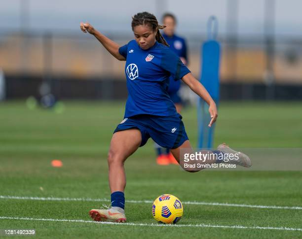 Mia Fishel of the USWNT takes a shot during a training session at Dick's Sporting Goods Park training fields on October 20 2020 in Commerce City...
