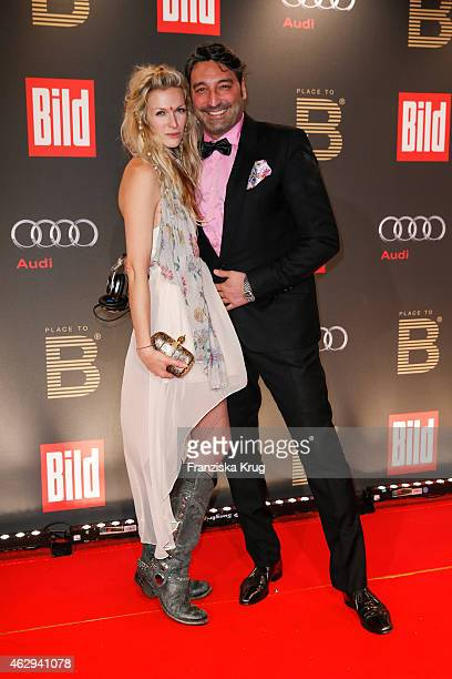 Mia Florentine Weiss and Mousee T attend the Bild 'Place to B' Party on February 07 2015 in Berlin Germany