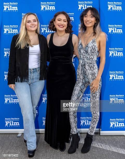 "Mia Frampton, Kaylee Kamiya and Mia Xitlali from the film ""Coast"" attend closing night of the 36th Santa Barbara International Film Festival on April..."