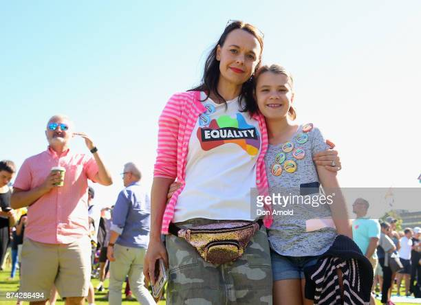 Mia Freedman and daughter Coco Lavigne look prior to the result announcement on November 15 2017 in Sydney Australia Australians have voted for...