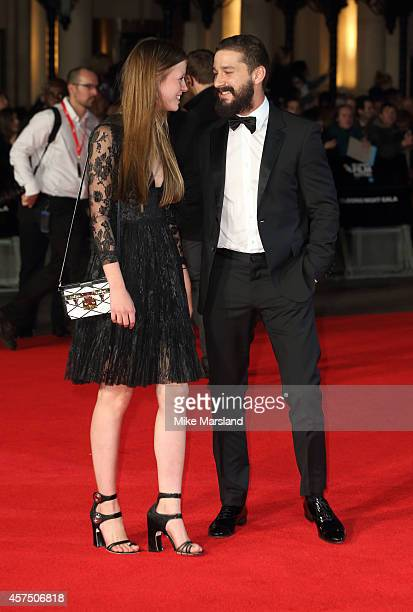 Mia Goth amd Shia LeBeouf attend the closing night Gala screening of Fury during the 58th BFI London Film Festival at Odeon Leicester Square on...