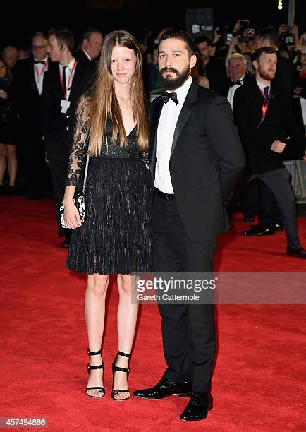 Mia Goth and actor Shia LeBeouf attend the closing night European Premiere gala red carpet arrivals for Fury during the 58th BFI London Film Festival...