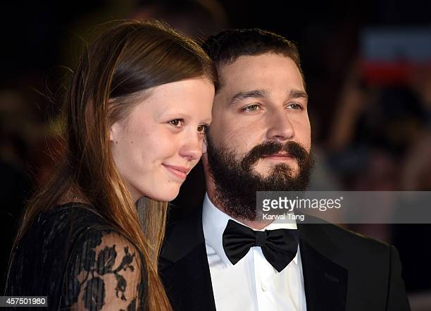 Mia Goth and Shia LaBeouf attend the closing night Gala screening of Fury during the 58th BFI London Film Festival at Odeon Leicester Square on...