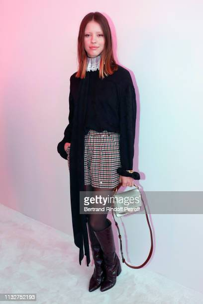 Mia Goth attends the Chloe show as part of the Paris Fashion Week Womenswear Fall/Winter 2019/2020 on February 28, 2019 in Paris, France.