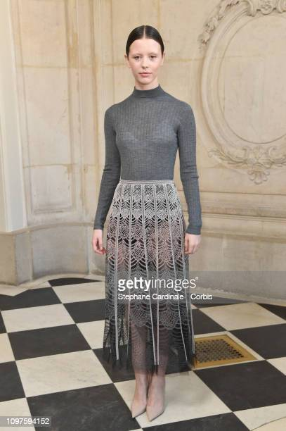Mia Goth attends the Christian Dior Haute Couture Spring Summer 2019 show as part of Paris Fashion Week on January 21 2019 in Paris France