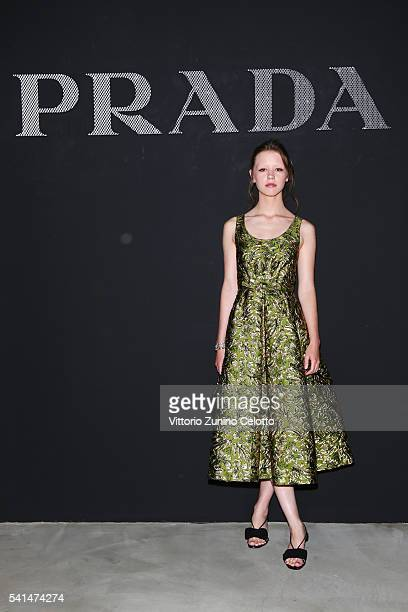 Mia Goth attends the Prada show during Milan Men's Fashion Week SS17 on June 19 2016 in Milan Italy